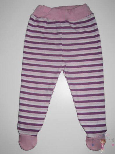 lábfejes babanadrág, lila színű, kisgyerekeknek, termékkép.