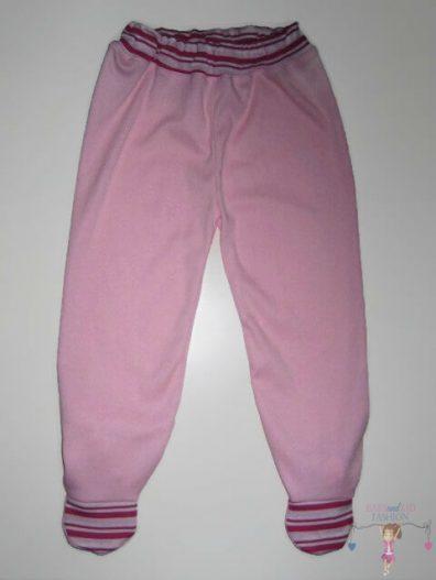 Lábfejes baba nadrág, rózsaszín, rózsaszín csíkos talppal és derékkal, kislányoknak, termékkép.