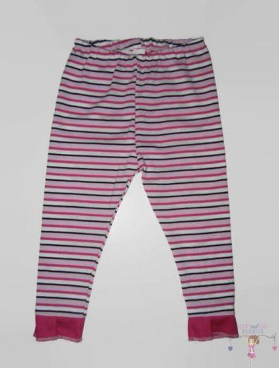 pamut leggings, pink csíkos, hosszú szárú, kislányoknak, termékkép.