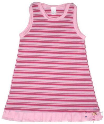 lányka tunika, hosszú ujjú, kerek nyakú, rózsaszín csíkos, kislányoknak, termékkép.