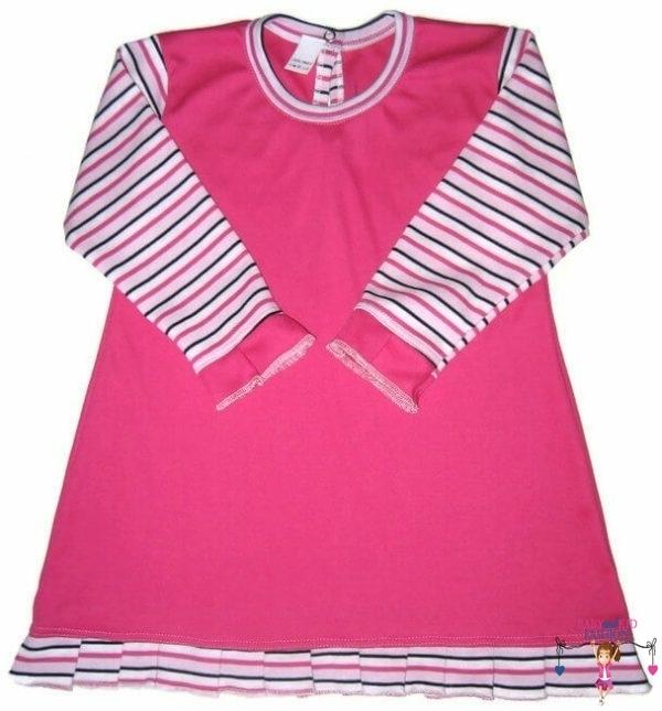 lányka tunika, hosszú ujjú, kerek nyakú, pink színű, kislányoknak, termékkép.