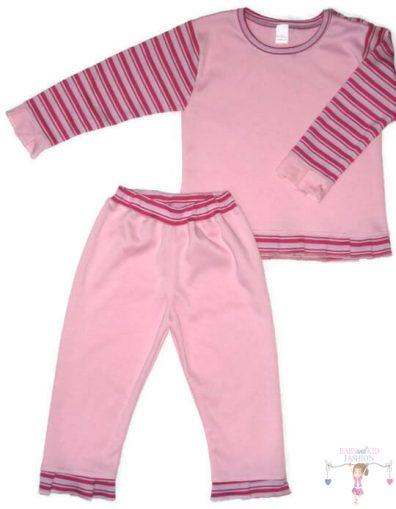 gyerek pizsama, rózsaszín színű, két részes, kisbabáknak, termékkép.