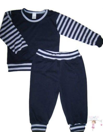 gyerek pizsama, sötétkék színű, hosszú ujjú felső és hosszú nadrág, kisfiúknak, termékkép.