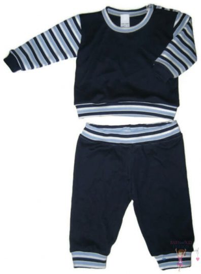 gyerek pizsama, sötétkék színű, két részes, kisbabáknak, termékkép.
