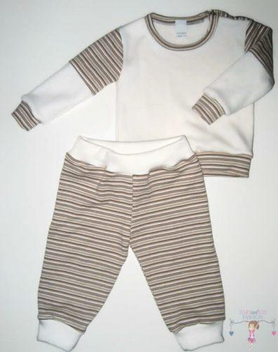 baba pizsama, hosszú ujjú felső hosszú nadrággal, vajszínű, kisfiúknak, termékkép.