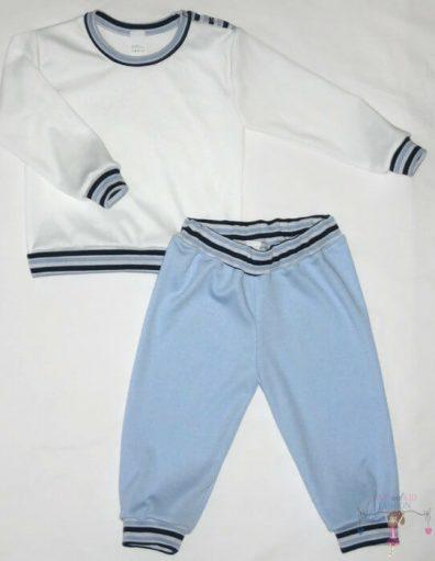 gyerek pizsama, fehér hosszú ujjú felső és hosszú fazonú kék nadrág, kisfiúknak, termékkép.