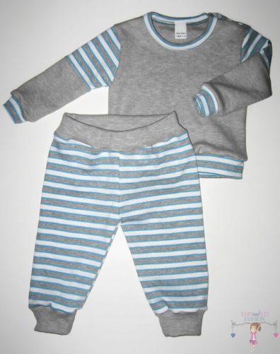baba pizsama, hosszú ujjú felső hosszú nadrággal, szürke színű, kisfiúknak, termékkép.