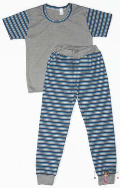 gyerek pizsama, szürke színű, rövid ujjú póló és hosszú fazonú nadrág, kisgyerekeknek, termékkép.