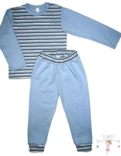baba pizsama, világoskék színű, hosszú ujjú felső és hosszú nadrág, kisfiúknak, termékkép.