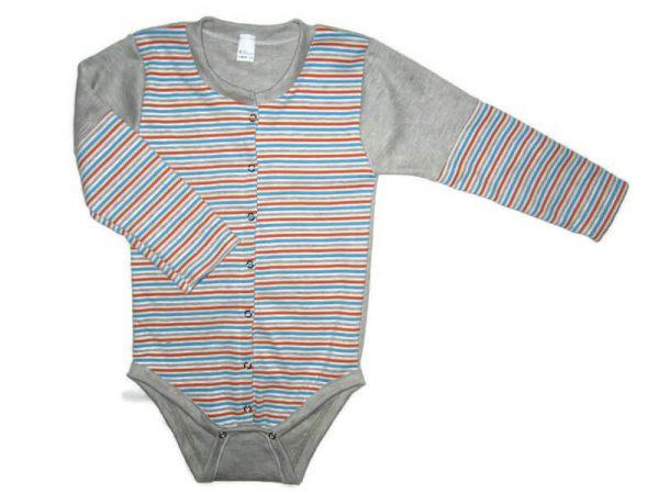 Patentos baba body, szürke csíkos, világosszürke hosszú ujjal, termékkép.