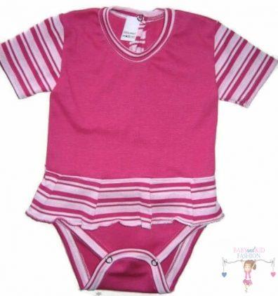 baba body, pink csíkos, rövid ujjú, kislányoknak, termékkép.