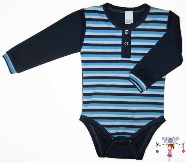 baba body, hosszú ujjú sötétkék csíkos, kisbabáknak, termékkép.