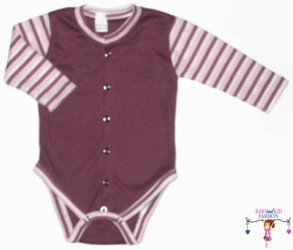 baba body, lila színű, hosszú ujjú, elöl végig patentos fazonú, kisbabáknak, termékkép.