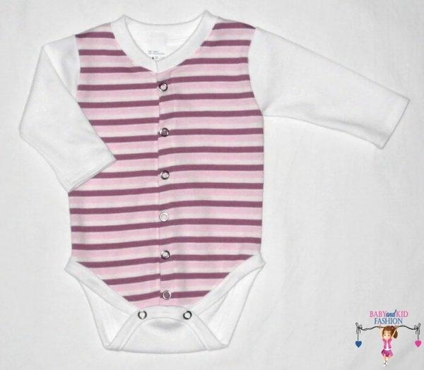 baba body, lila csíkos, hosszú ujjú, elöl végig patentos fazonú, kisbabáknak, termékkép.