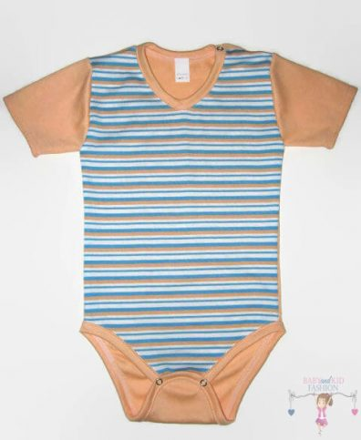 baba body, rövid ujjú, barack csíkos, kisbabáknak, termékkép.