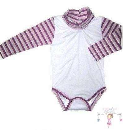 baba body, fehér színű, garbós, hosszú ujjú, kisbabáknak, termékkép.