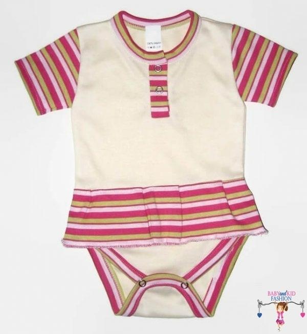 baba body, vajszínű, rövid ujjú, kislányoknak, termékkép.