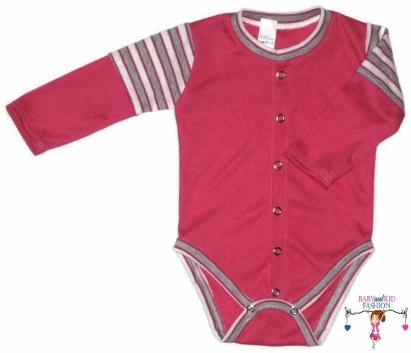 baba body, pink színű, hosszú ujjú, elöl végig patentos fazonú, kisbabáknak, termékkép.