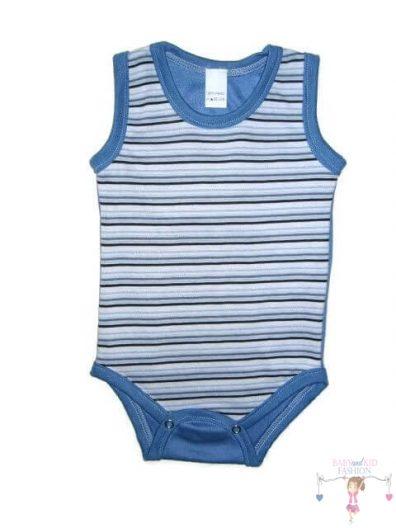 baba body, kék csíkos, ujjatlan, kisbabáknak, termékkép.