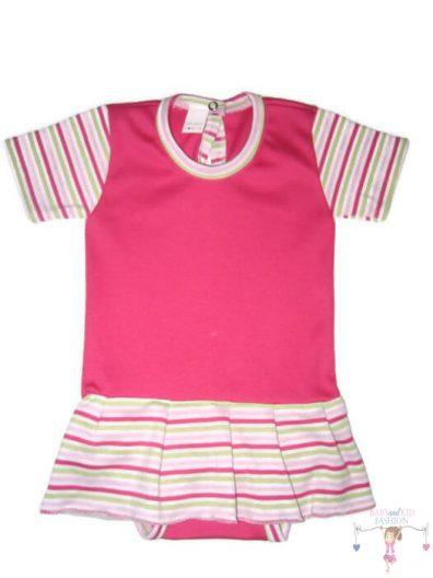 szoknyás gyerek body, pink csíkos, ujjatlan, kislányoknak, termékkép.