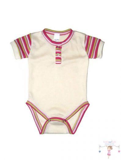 baba body, rövid ujjú, vajszínű, kisbabáknak, termékkép.