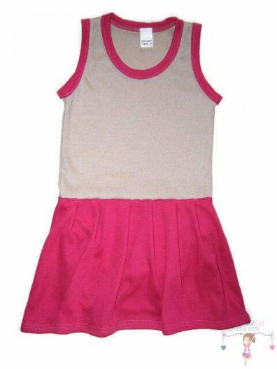 szoknyás gyerek body, drapp színű, ujjatlan, kislányoknak, termékkép.