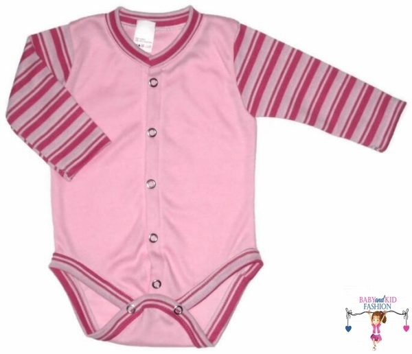 baba body, rózsaszín színű, hosszú ujjú, elöl végig patentos fazonú, kisbabáknak, termékkép.