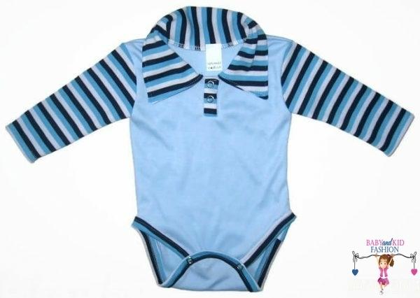 baba body, galléros, rövid ujjú, világoskék színű, kisbabáknak, termékkép.