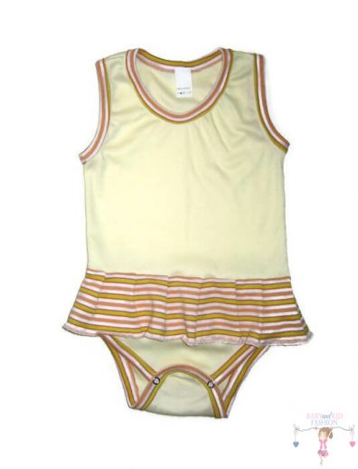 baba body, citromsárga színű, ujjatlan, kislányoknak, termékkép.