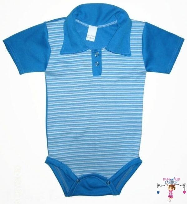 baba body, galléros, rövid ujjú, türkizkék csíkos, kisbabáknak, termékkép.