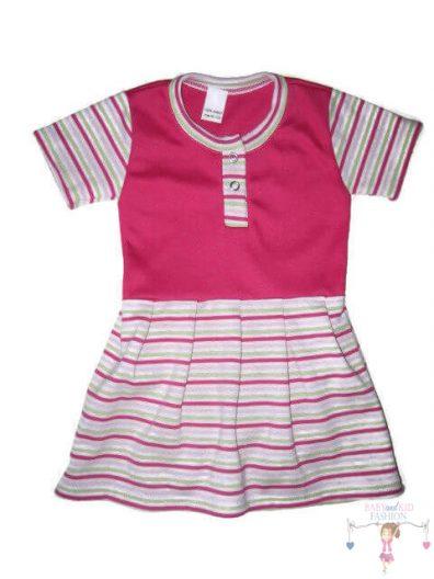 szoknyás gyerek body, pink csíkos, rövid ujjú, kislányoknak, termékkép.