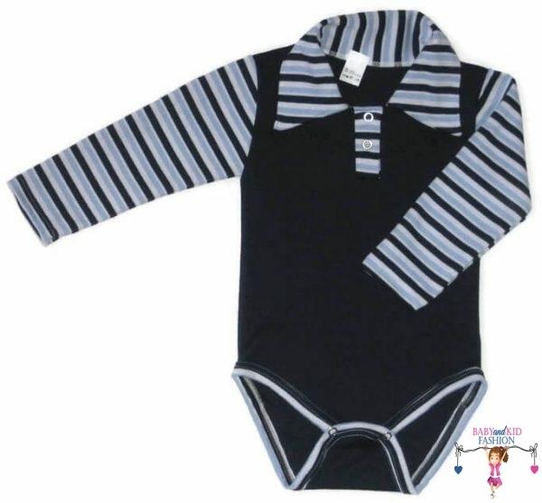 baba body, galléros sötétkék színű, kisbabáknak, termékkép.