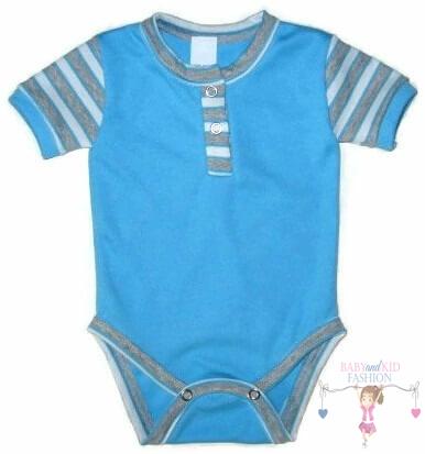 baba body, türkizkék színű, rövid ujjú, kisbabáknak, termékkép.