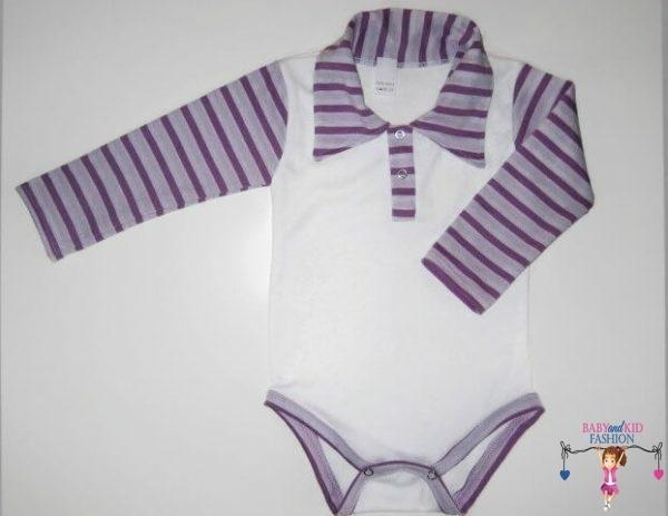 baba body, galléros, fehér színű, lila hosszú ujjal, kisbabáknak, termékkép.