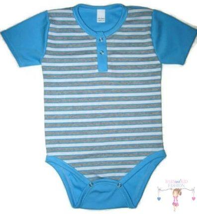 baba body, türkizkék csíkos, rövid ujjú, kisbabáknak, termékkép.