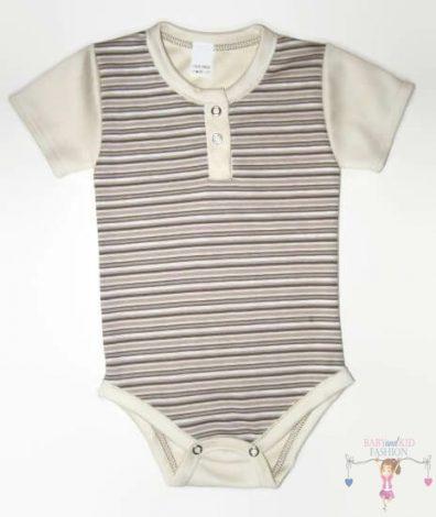 baba body, drapp csíkos, rövid ujjú, kisbabáknak, termékkép.