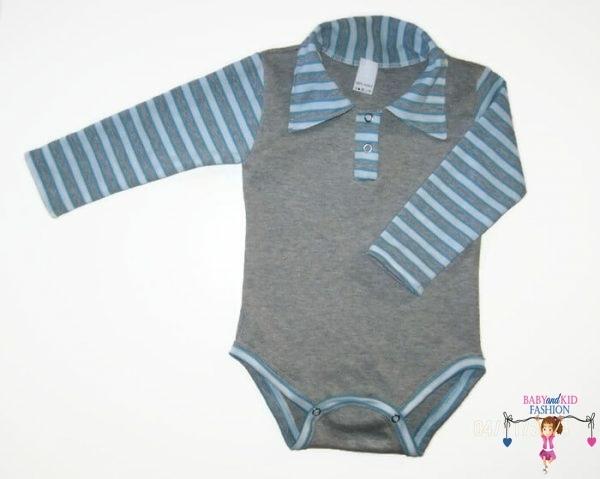 baba body, galléros szürke színű, kisbabáknak, termékkép