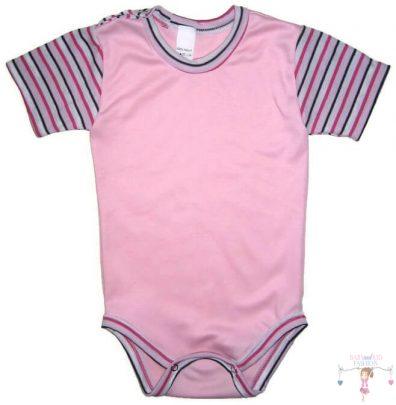 baba body varrása, rózsaszín rövid ujjú body, kép.