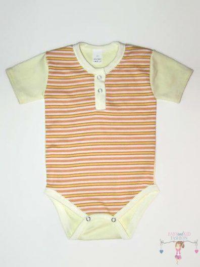gyerek body, rövid ujjú, barack csíkos, kisbabáknak, termékkép.