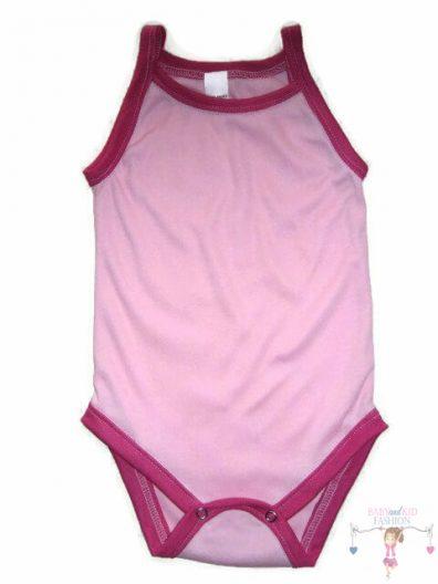 baba body, rózsaszín színű, spagetti pántos, kislányoknak, termékkép.