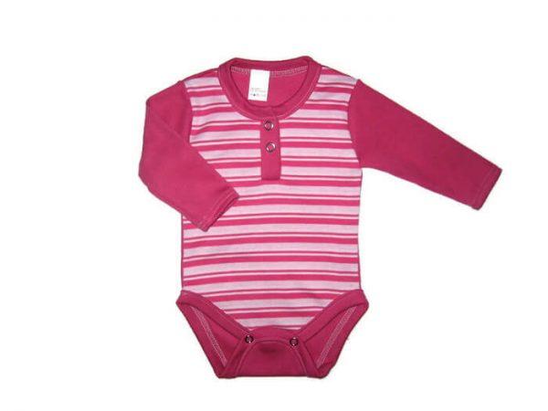 baba body, pink csíkos,hosszú ujjú, kisbabáknak, termékkép.