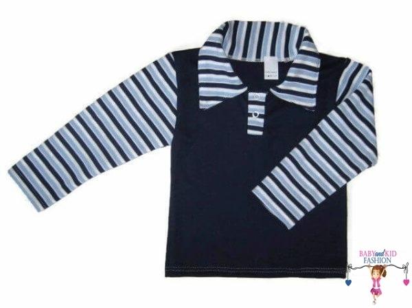 fiú hosszú ujjú póló, sötétkék színű, galléros, hosszú ujjú, kisfiúknak, termékkép.