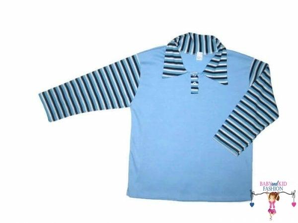 fiú hosszú ujjú póló világoskék színű, galléros, hosszú ujjú, kisfiúknak, termékkép.