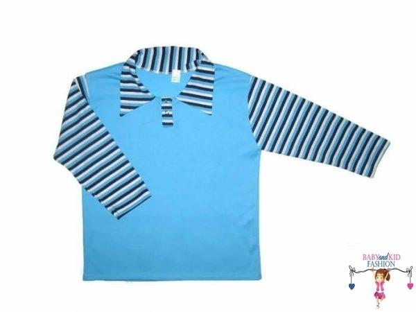 fiú hosszú ujjú póló, türkizkék színű, galléros, hosszú ujjú, kisfiúknak, termékkép.