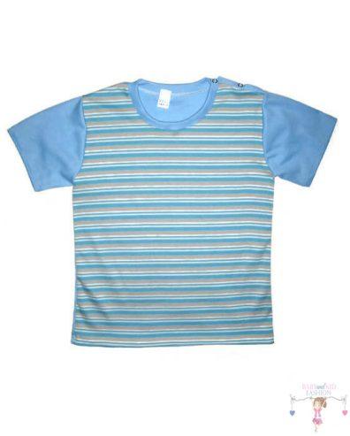 Fiú rövid ujjú póló, kék csíkos, rövid ujjú, kisfiúknak, termékkép.