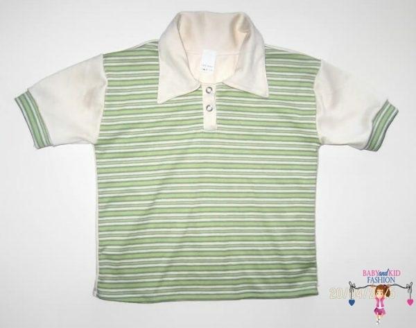 Gyerek póló, zöld csíkos, galléros, rövid ujjú, kisfiúknak, termékkép.