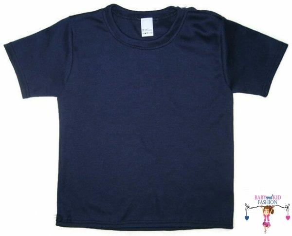 gyerek póló, sötétkék színű, rövid ujjú, kisfiúknak, termékkép.