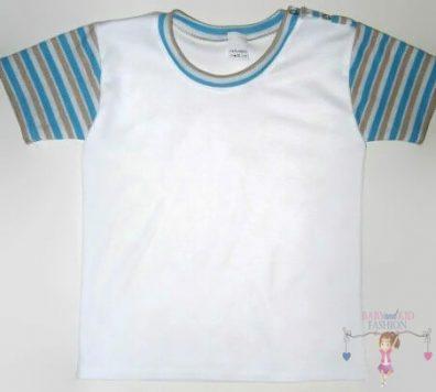 Fiú rövid ujjú póló, fehér színű, rövid ujjú, kisfiúknak, termékkép.