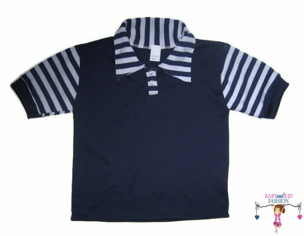 Gyerek póló, sötétkék színű, galléros, rövid ujjú, kisfiúknak, termékkép.