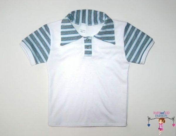 gyerek póló, fehér színű, galléros, rövid ujjú, kisfiúknak, termékkép.